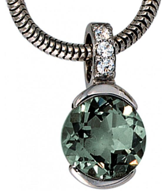 Anhänger 585 Gold Weißgold 3 Diamanten Brillanten 1 grüner Amethyst Goldanhänger Bild2 Großbild