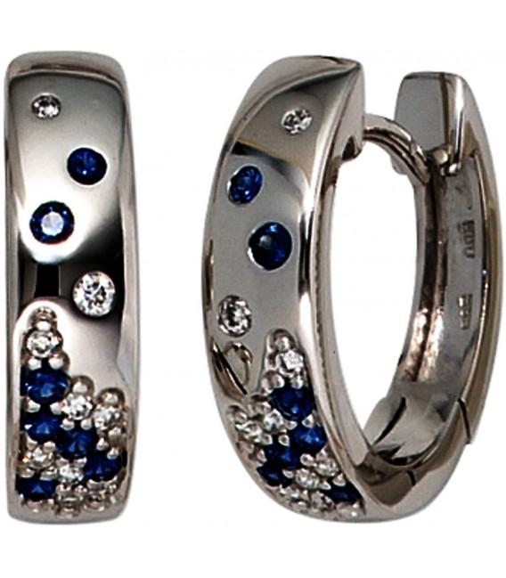 Creolen 585 Gold Weißgold 18 Diamanten Brillanten 14 Safire blau Ohrringe Bild1