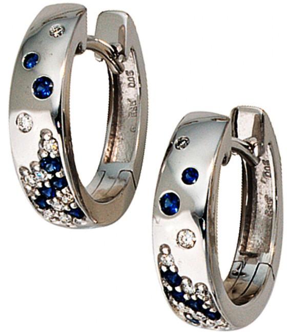 Creolen 585 Gold Weißgold 18 Diamanten Brillanten 14 Safire blau Ohrringe Bild2
