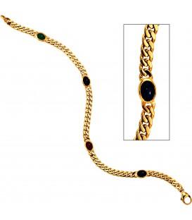 Armband 585 Gold Gelbgold massiv 19 cm Safir Rubin Smaragd Cabochon Goldarmband Bild1