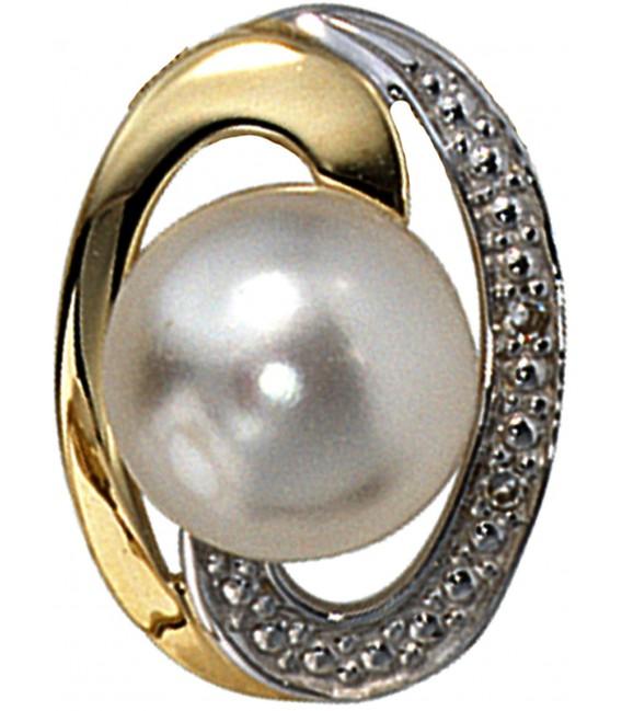 Anhänger 585 Gold Gelbgold bicolor 1 Süßwasser Perle 2 Diamanten Perlenanhänger Bild1 Großbild