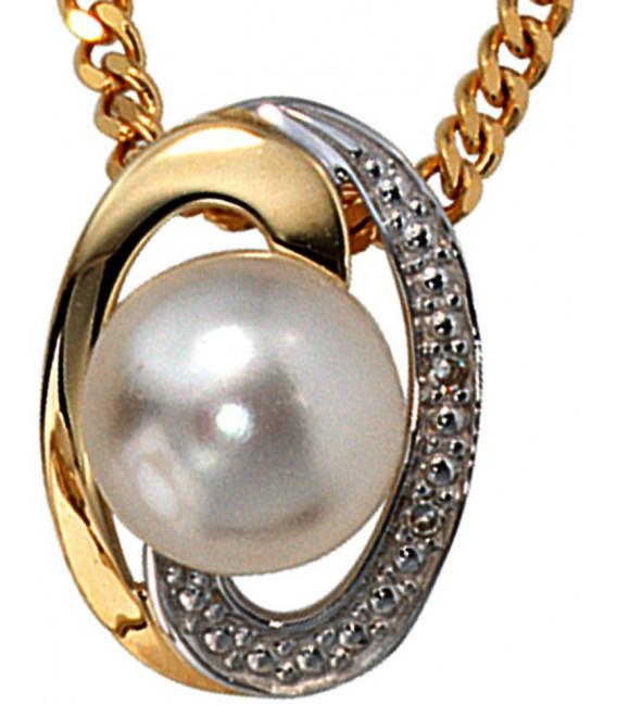 Anhänger 585 Gold Gelbgold bicolor 1 Süßwasser Perle 2 Diamanten Perlenanhänger Bild2 Großbild