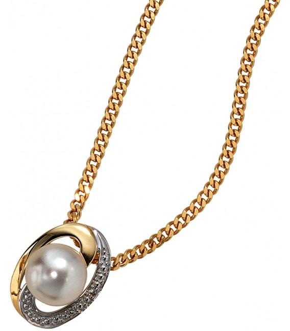 Anhänger 585 Gold Gelbgold bicolor 1 Süßwasser Perle 2 Diamanten Perlenanhänger Bild3 Großbild