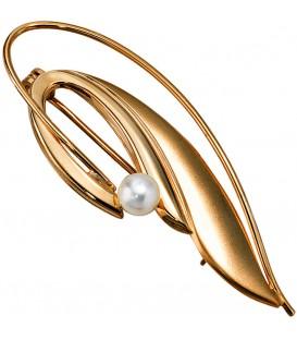 Brosche 585 Gold Gelbgold mattiert 1 Süßwasser Perle Perlenbrosche Bild1