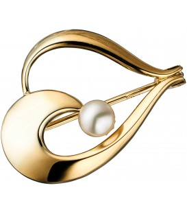 Brosche 585 Gold Gelbgold 1 Süßwasser Perle Perlenbrosche Goldbrosche Bild1