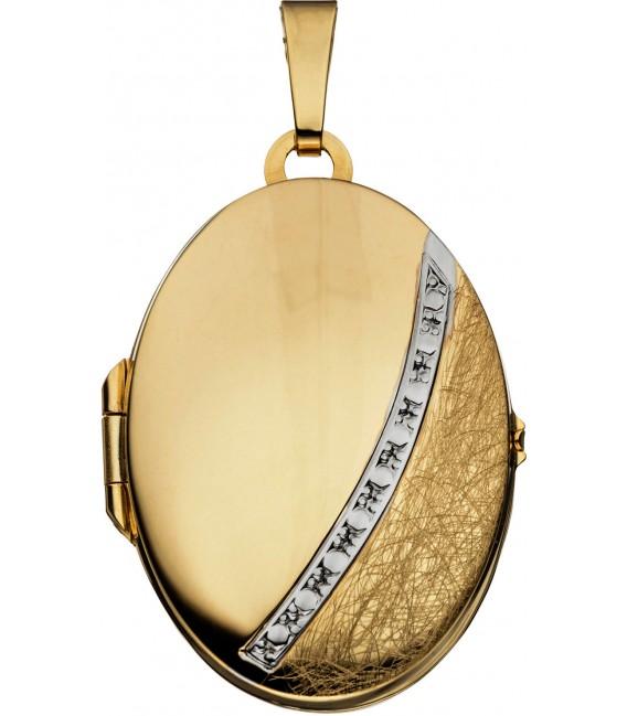 Medaillon oval 333 Gold Gelbgold bicolor eismatt Anhänger zum Öffnen Bild1 Großbild