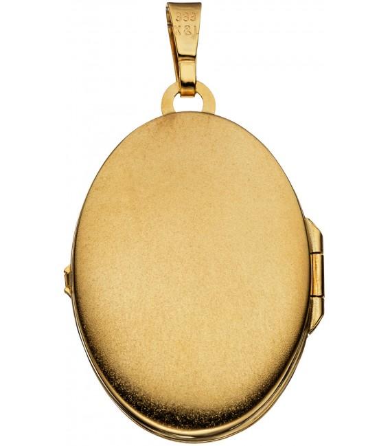 Medaillon oval 333 Gold Gelbgold bicolor eismatt Anhänger zum Öffnen Bild2 Großbild