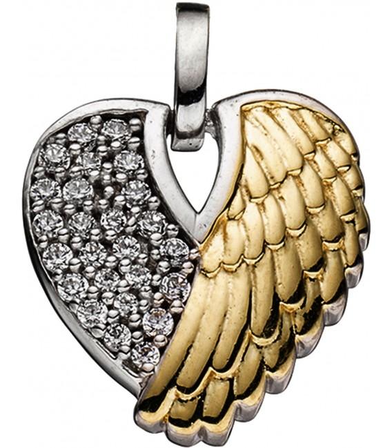 Anhänger Herz / Engelsflügel 925 Silber bicolor vergoldet mit Zirkonia Bild1 Großbild