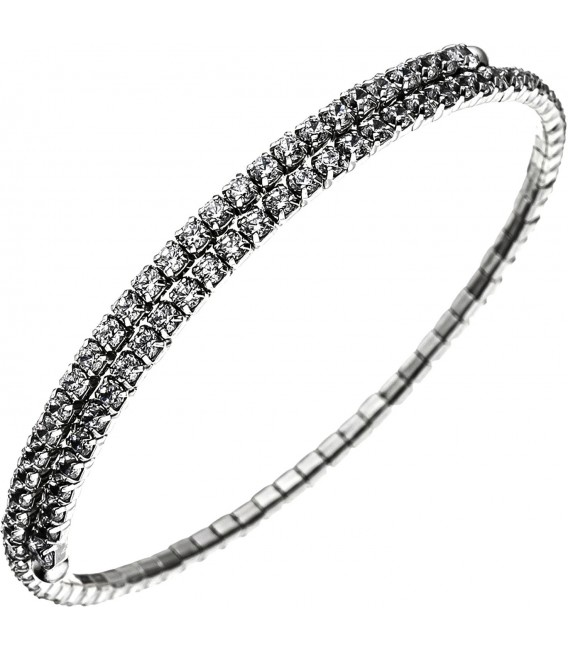 Armspange / offener Armreif 925 Silber mit 96 Zirkonia Armband flexibel Bild1 Großbild
