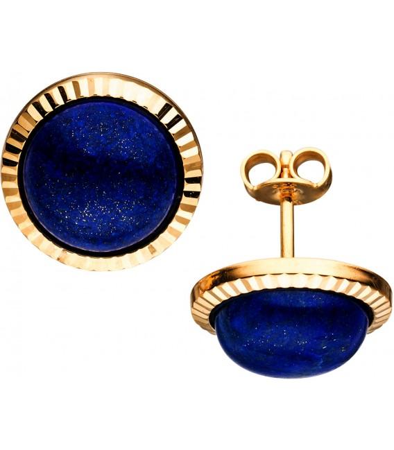 Ohrstecker rund 333 Gold Gelbgold 2 Lapislazuli blau Ohrringe Goldohrringe Bild1