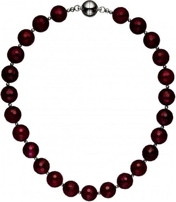 Halskette Kette Achat und Hämatin 45 cm Steinkette Edelsteinkette brombeer Bild1 Großbild