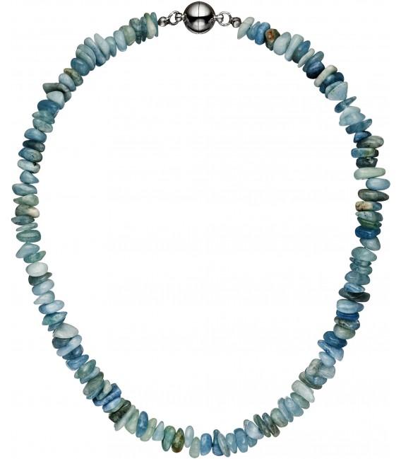 Halskette Kette Aquamarin hellblau blau 45 cm Aquamarinkette Steinkette Bild1 Großbild