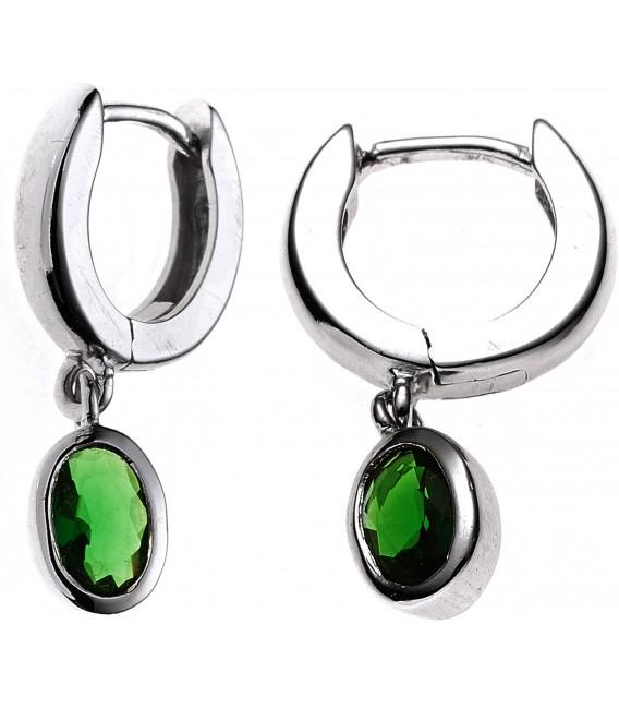 Creolen 925 Silber 2 Zirkonia grün Ohrringe Silberohrringe Silbercreolen Bild1 Großbild