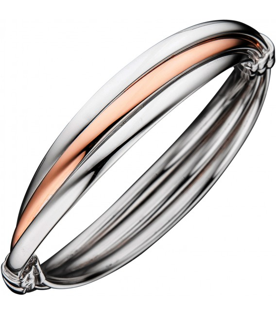 Großbild Armreif Armband oval 925 Sterling Silber bicolor vergoldet Bild1