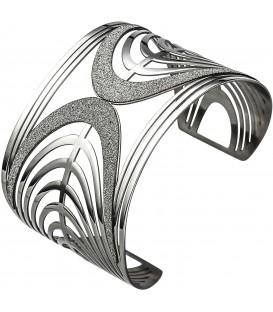 Armspange / offener Armreif aus Edelstahl mit Glitzereffekt Armband breit Bild1