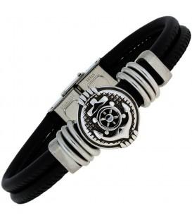 Armband Anker Leder schwarz mit Edelstahl teil matt 23 cm Bild1
