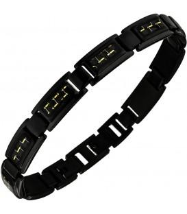 Armband Edelstahl schwarz beschichtet mit goldfarbenen Effekten 22 cm Bild1