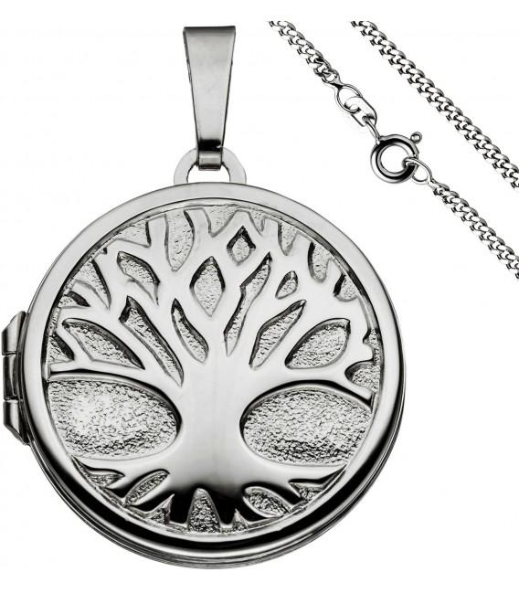 Medaillon Anhänger Baum des Lebens Weltenbaum rund 925 Silber mit Kette 50 cm Bild1 Großbild