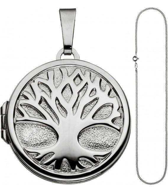 Medaillon Anhänger Baum des Lebens Weltenbaum rund 925 Silber mit Kette 50 cm Bild2 Großbild