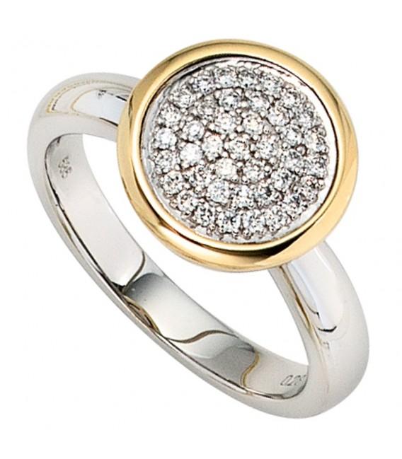 Damen Ring 585 Gold Weißgold Gelbgold bicolor 40 Diamanten Brillanten Goldring Bild1 Großbild