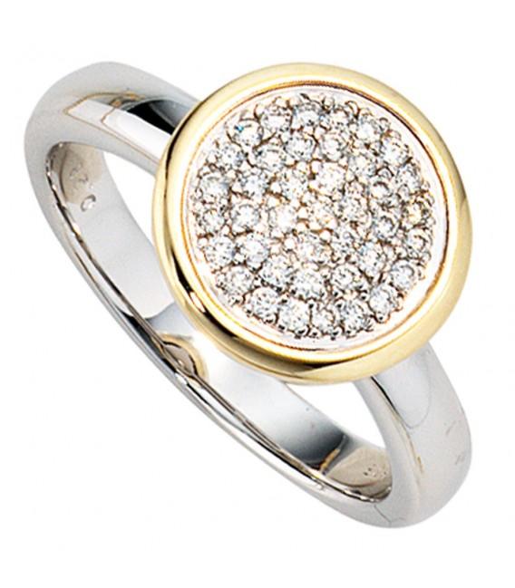 Damen Ring 585 Gold Weißgold Gelbgold bicolor 40 Diamanten Brillanten Goldring Bild2 Großbild