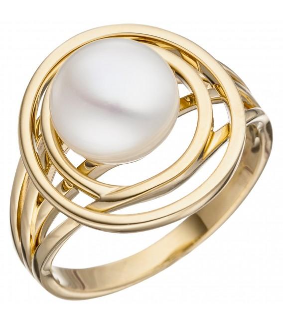 Damen Ring 585 Gold Gelbgold 1 Süßwasser Perle Perlenring Goldring Bild1 Großbild