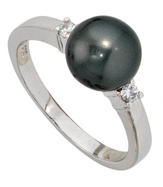 Damen Ring 925 Sterling Silber rhodiniert 2 Zirkonia Perlenring Silberring Bild2 Großbild