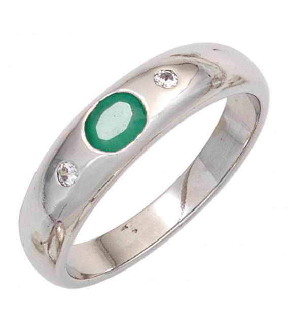 Damen Ring 925 Sterling Silber rhodiniert 1 Smaragd grün 2 Zirkonia Silberring Bild1