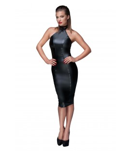 schwarzes Powerwetlook Bleistiftkleid F160 von Noir Handmade Muse Collection