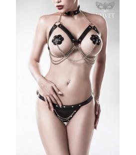 3-teiliges Erotikset von Grey Velvet schwarz - AT15139