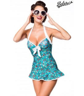 Vintage Swimdress grün/weiß - AT50112