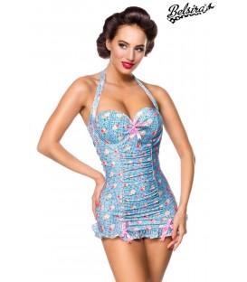 Vintage Badeanzug blau/rosa/weiß - AT50119