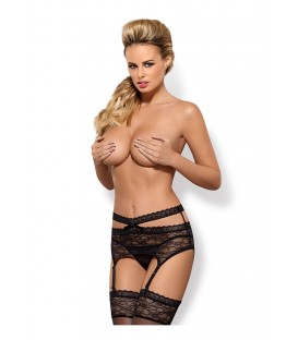 OB Swanita garter belt & thong black