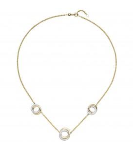 Collier Halskette 585 Gold Gelbgold Weißgold bicolor 82 Diamanten 45 cm - Bild 1