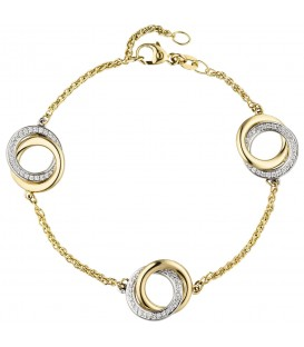 Armband 585 Gold Gelbgold Weißgold bicolor 81 Diamanten Brillanten 18 cm - Bild 1