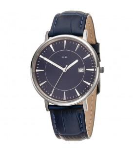 JOBO Herren Armbanduhr Quarz Analog Titan Lederband blau Datum Herrenuhr - Bild 1