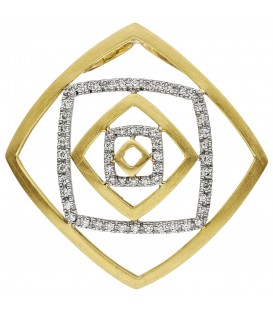 Anhänger 585 Gold Gelbgold Weißgold bicolor teil matt 56 Diamanten Brillanten - Bild 1