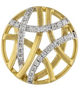 Anhänger rund 585 Gold Gelbgold bicolor matt 31 Diamanten Brillanten - Bild 1