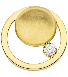Anhänger rund 585 Gold Gelbgold teil matt 1 Diamant Brillant Goldanhänger - Bild 1
