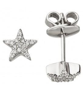Ohrstecker Stern 585 Weißgold 32 Diamanten Brillanten Ohrringe Sternohrstecker - Bild 1