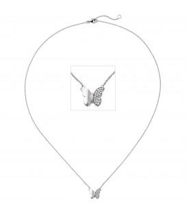 Collier Halskette Schmetterling 585 Weißgold 20 Diamanten Brillanten 45 cm Kette - Bild 1