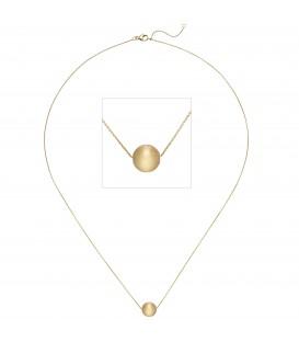 Collier Kette mit Anhänger Kugel 750 Gold Gelbgold matt 45 cm Halskette - Bild 1