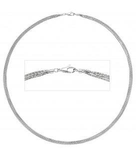Halskette Popcorn Kette 3-reihig 750 Gold Weißgold 45 cm Goldkette Karabiner - Bild 1