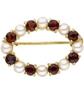 Brosche 375 Gold Gelbgold 8 Akoya Perlen 8 Granate rot Granatbrosche - Bild 1