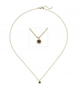 Collier Kette mit Anhänger 585 Gold Gelbgold 1 Rauchquarz 45 cm Halskette - Bild 1