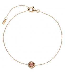 Armband 585 Gold Rotgold 1 Turmalin Cabochon pink 16 Diamanten Brllanten 20 cm - Bild 1