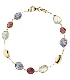 Armband 585 Gold Gelbgold 9 Turmaline 19 cm Edelsteinarmband - Bild 1