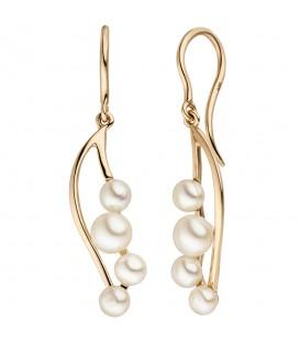 Ohrhänger 585 Gold Rotgold 8 Süßwasser Perlen Ohrringe Perlenohrringe - Bild 1