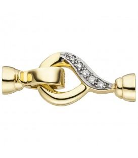 Schließe 585 Gold Gelbgold 10 Diamanten Brillanten Kettenverschluss - Bild 1