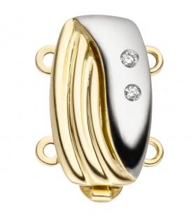 Schließe 2-reihig 585 Gold Gelbgold bicolor 2 DiamantenKettenverschluss - Bild 1